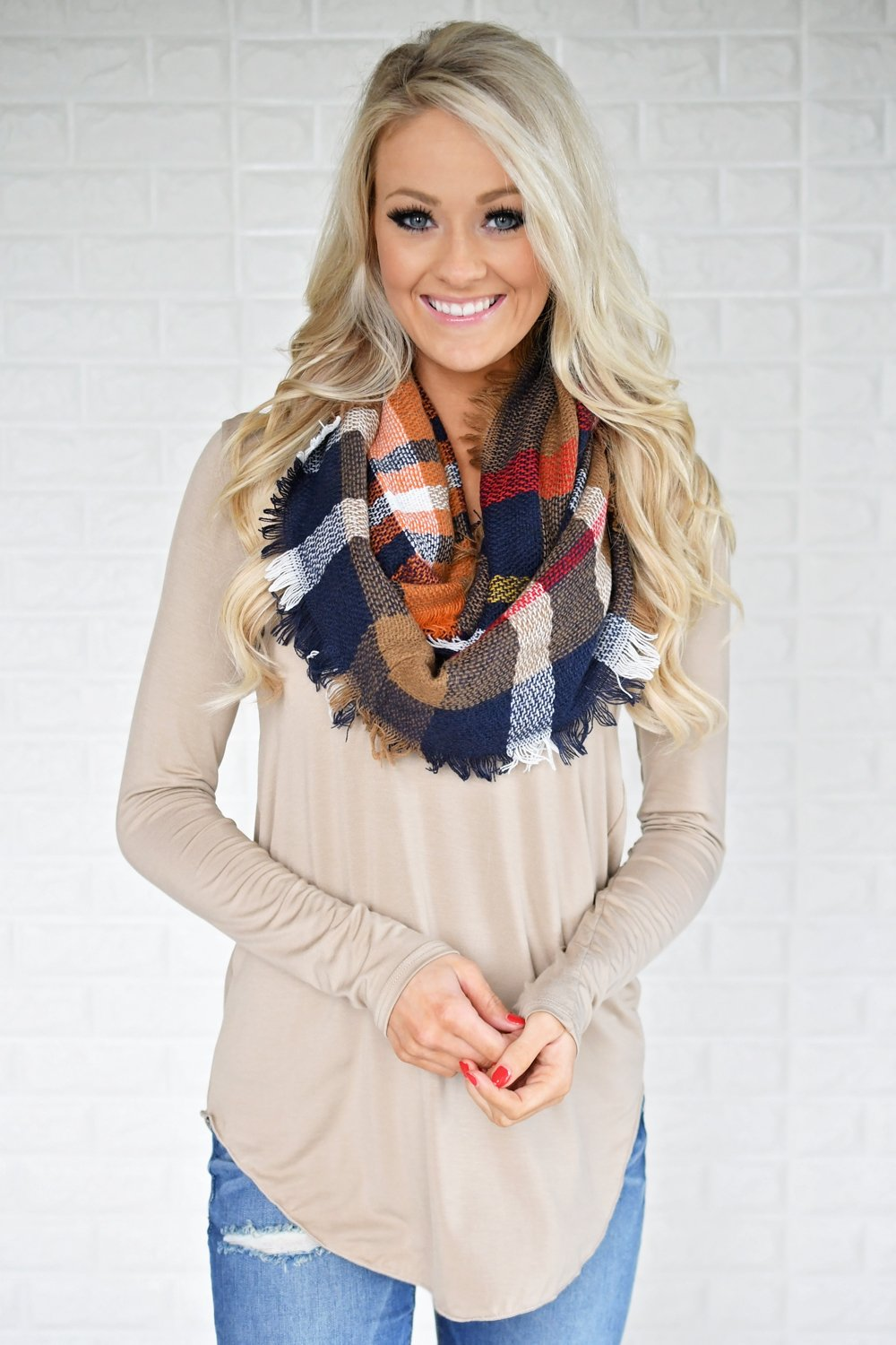 Long Sleeve V-Neck Top ~ Taupe