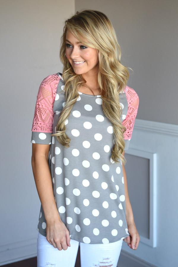 Addicted to Dots Top ~ Coral