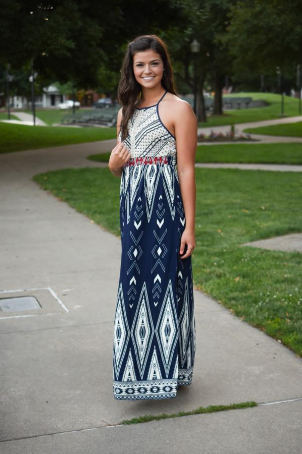 Family Tradition Ethnic Print Maxi Dress Navy