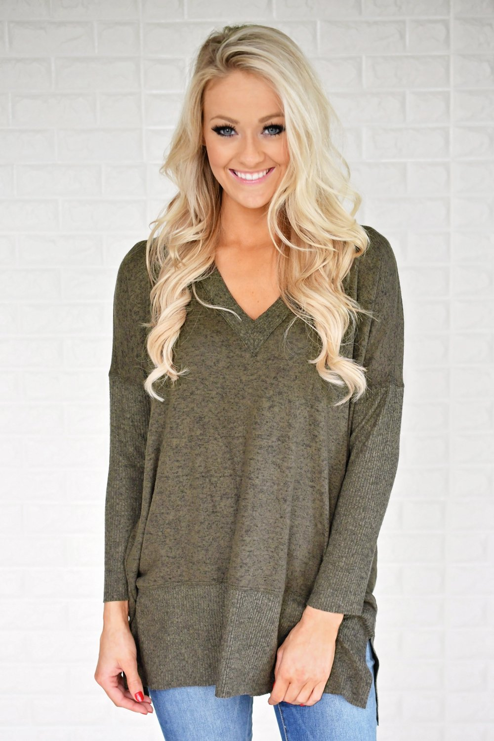 Feeling Cozy V-Neck Top