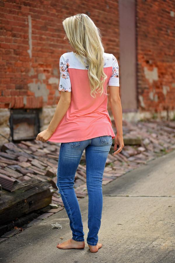 Daydreamer Coral Floral Top