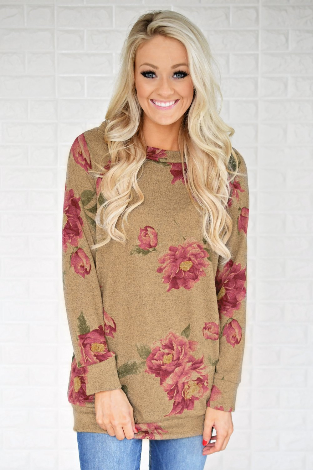 Endless Possibilities Long Sleeve Floral Top ~ Brown