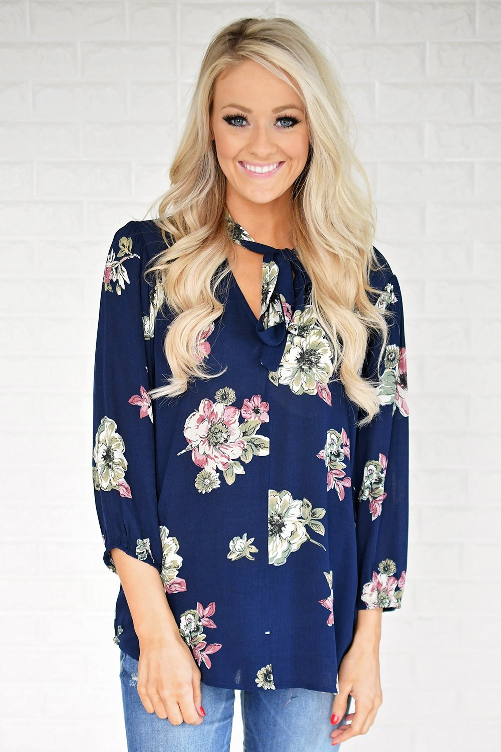 Navy Floral Blouse