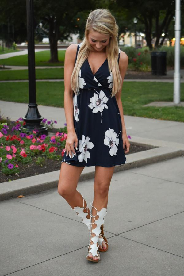 Navy Floral Mid Length Dress