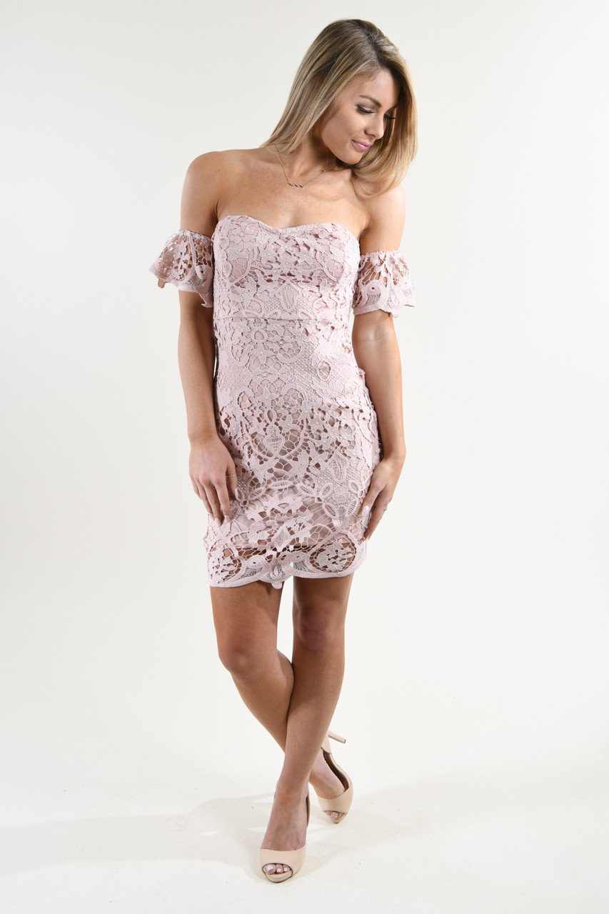 Pink Lace Off the Shoulder Dress