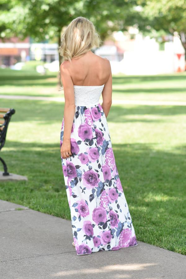 Strapless Purple Floral Maxi