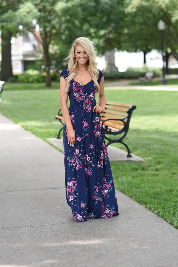 Navy Short Sleeve Floral Maxi Dress