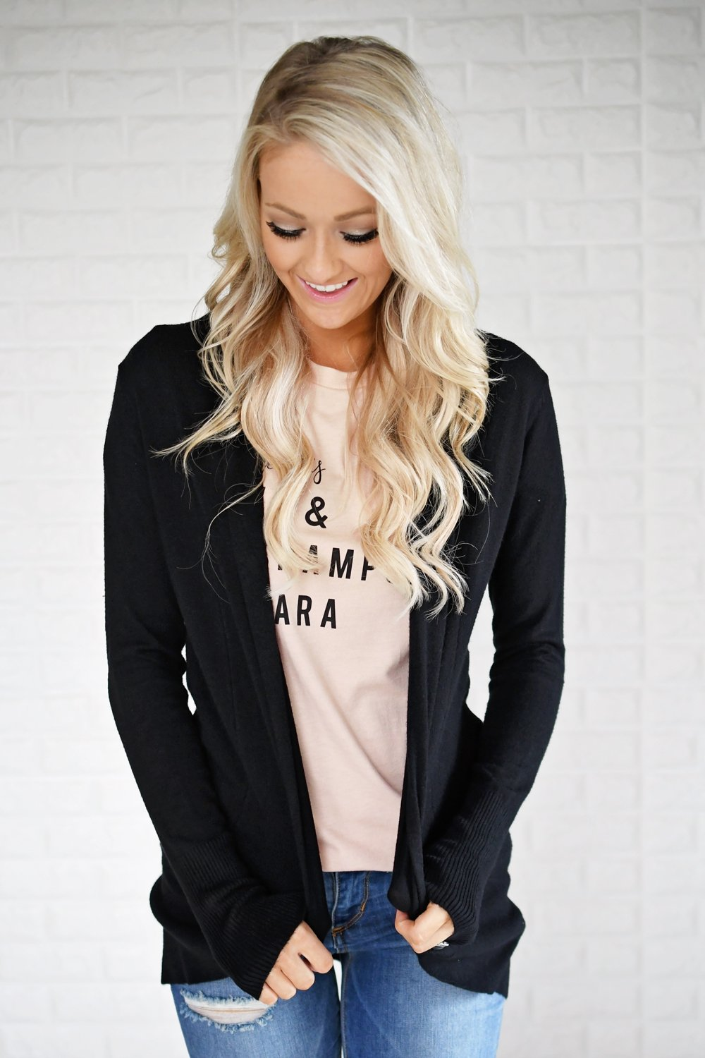 Long Sleeve Black Drape Cardigan