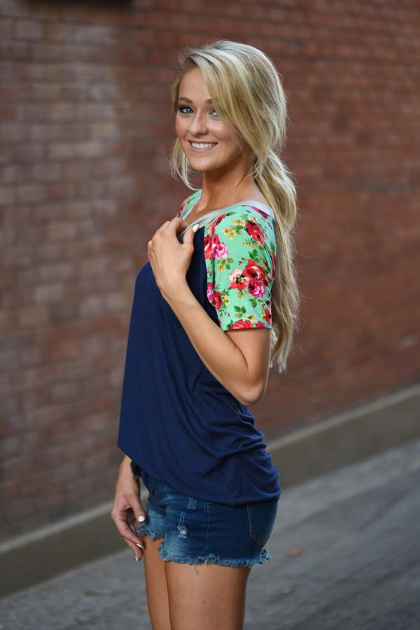 Collar Full of Color Floral Top ~ Navy