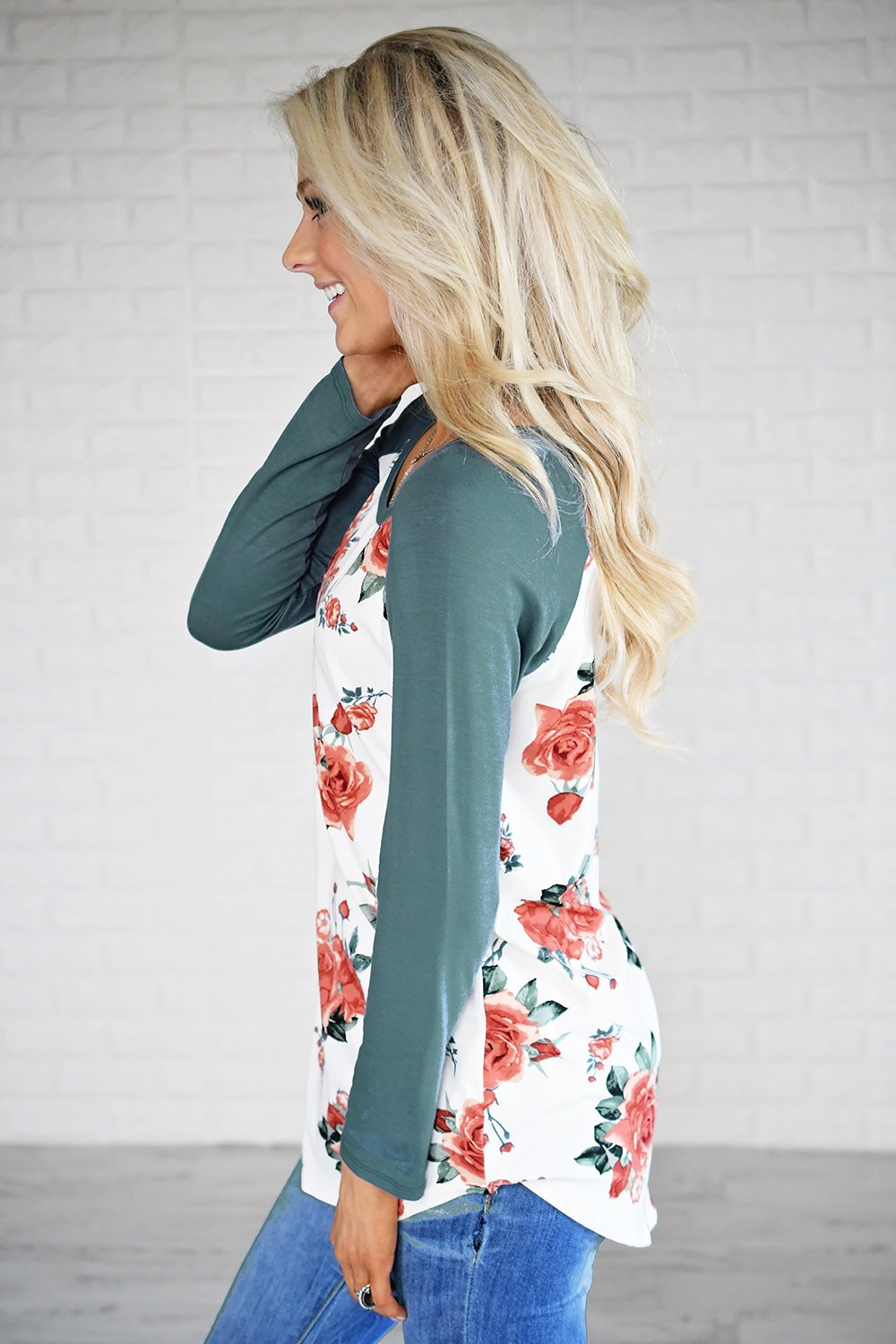 Happy in Floral Baseball Tee ~ Dark Seafoam