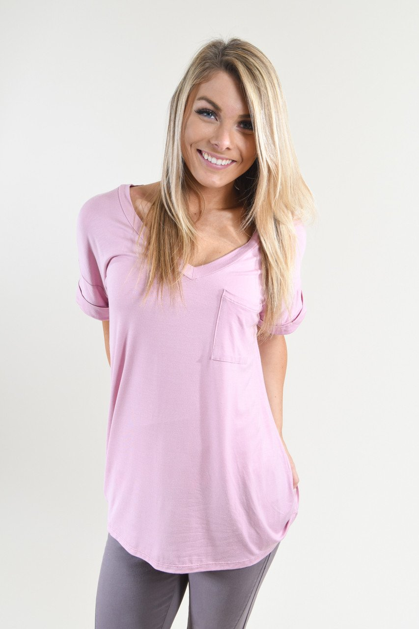 Light Purple Essential V-Neck Top