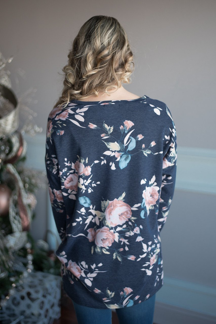 Trust in Me Floral Top - Blue