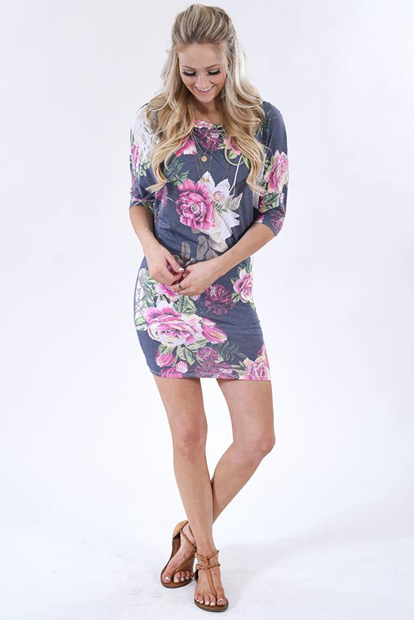Purple and Blue Tulip Mini Dress - The Pulse Boutique