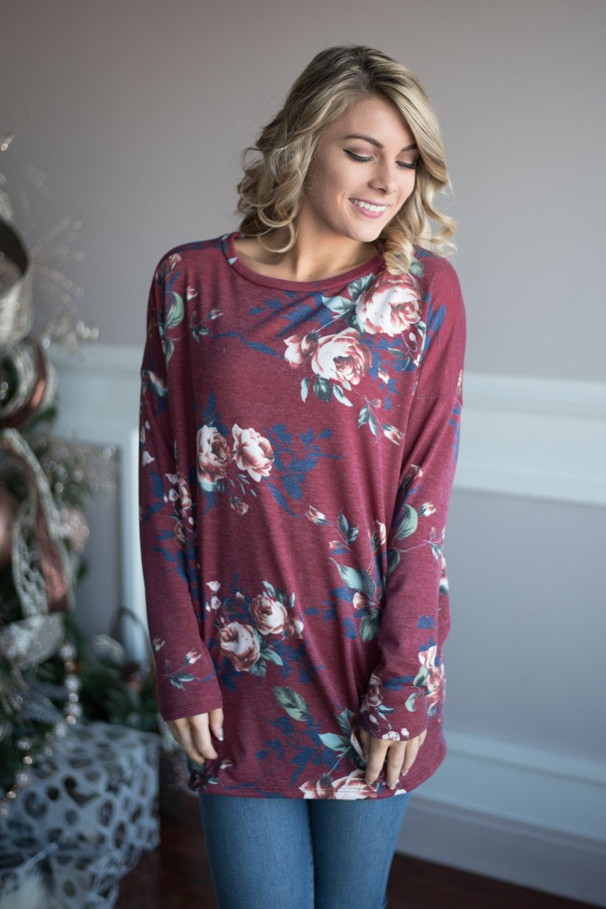 Trust in Me Floral Top - Burgundy