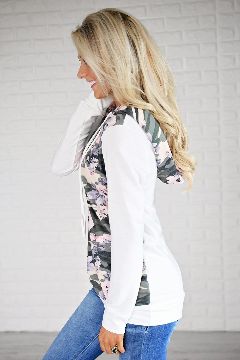 Camo & Floral Hoodie ~ Ivory