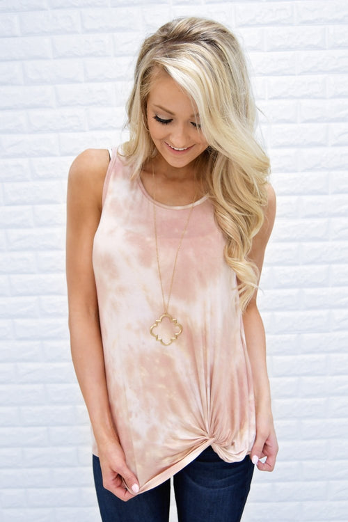 All Tied Dyed Up Pink Knot Tank Top