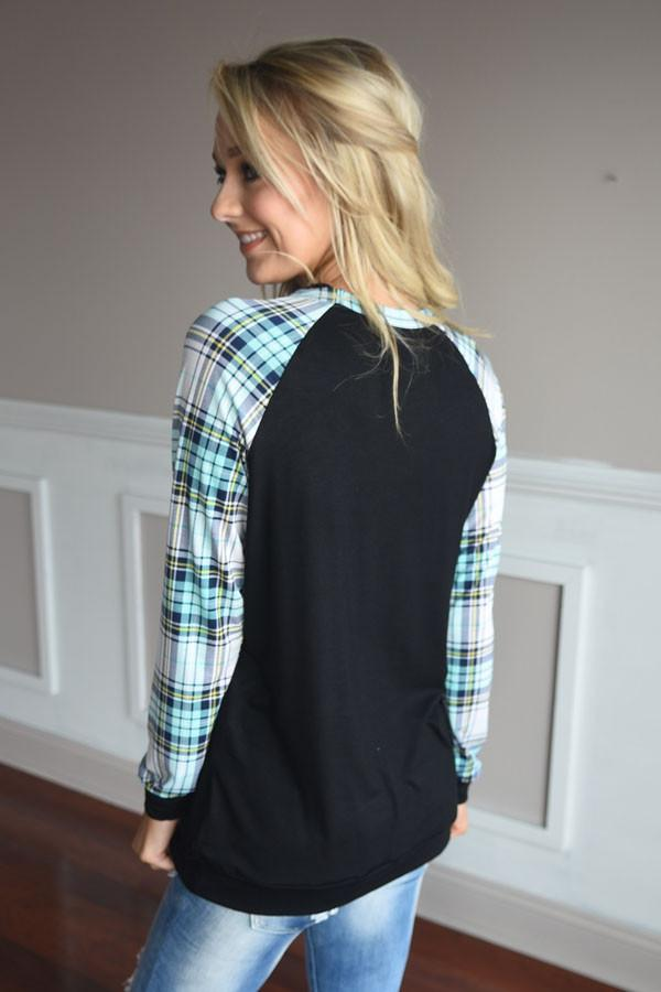 Plaid Glam Top ~ Mint