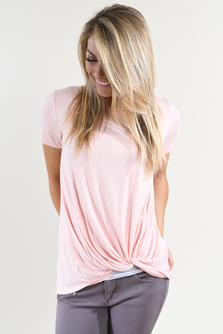 Solid Light Peach Knot Top