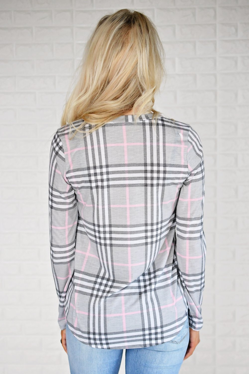 Perfectly Plaid Long Sleeve Top ~ Grey