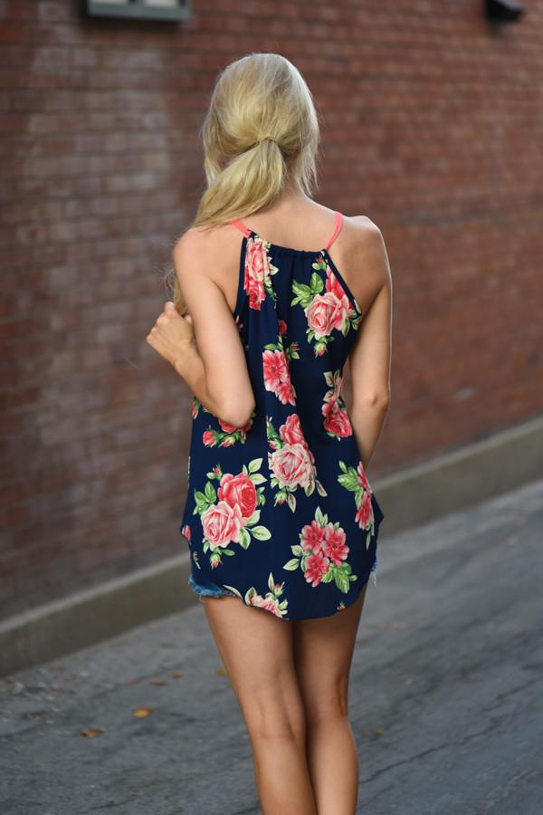 Floral Dream Tank Top ~ Navy