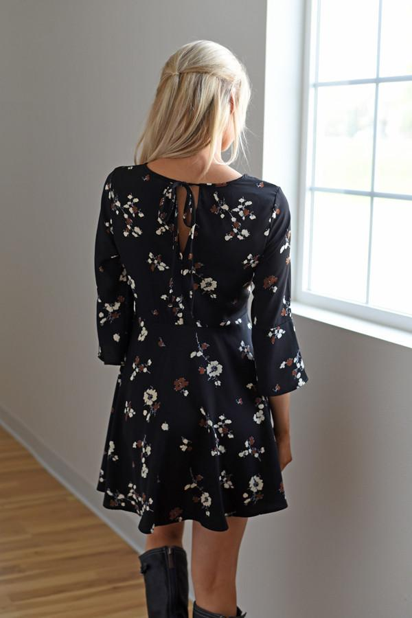 Fall Floral Dress ~ Black