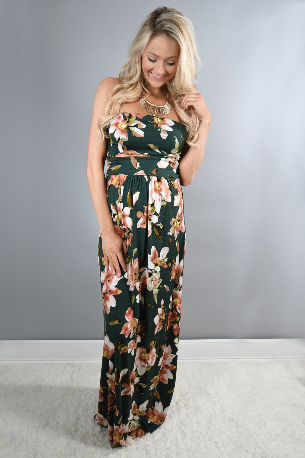 Strapless Olive Floral Maxi Dress