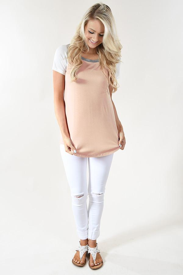 Peach and Grey Collar Top
