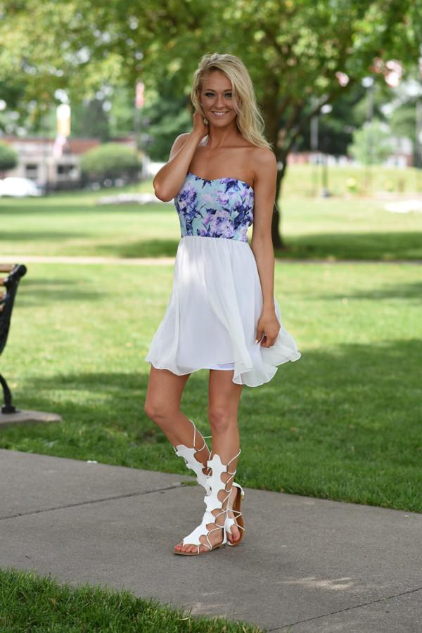Strapless Ivory Floral Short Dress