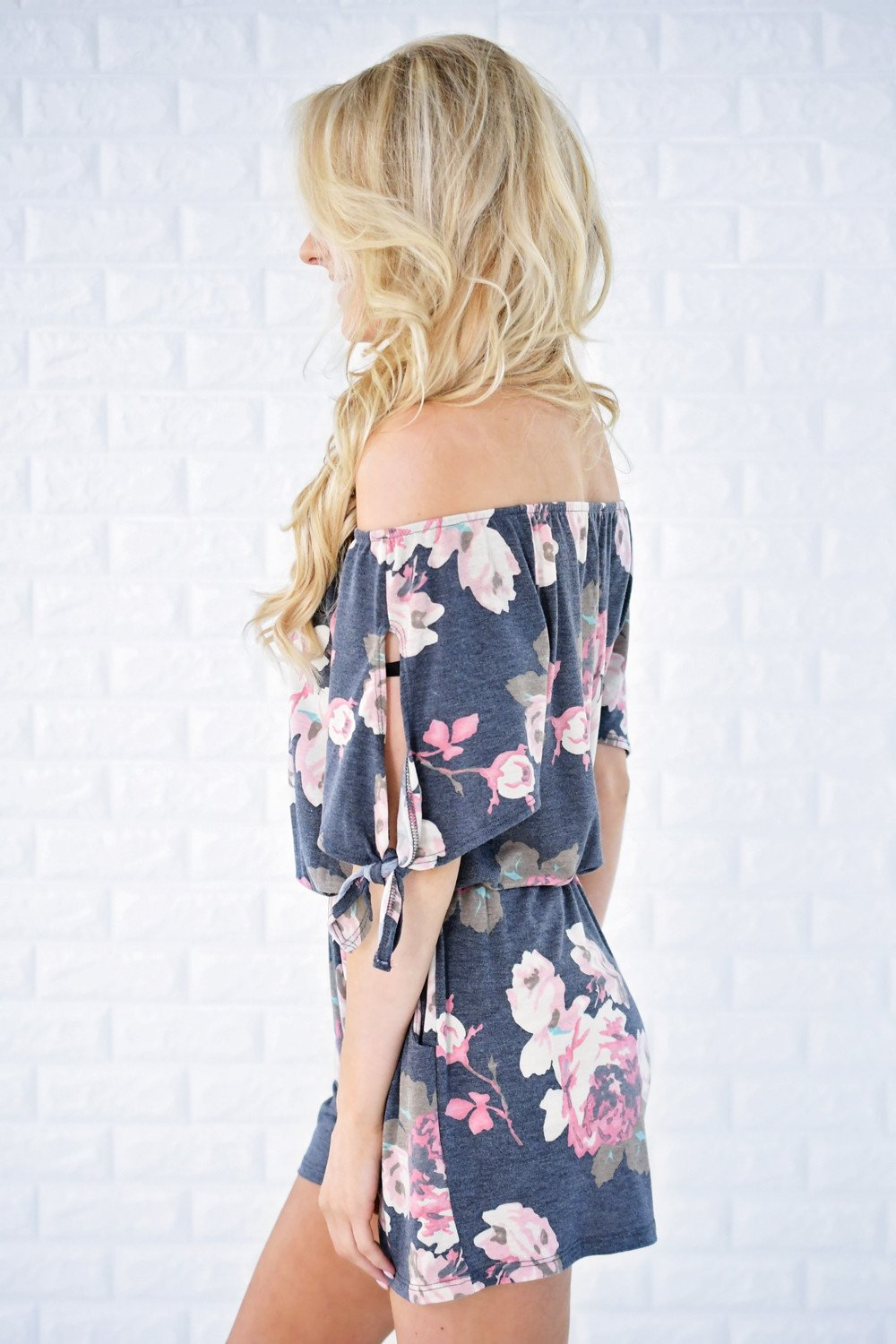 All the Love Blue Floral Romper
