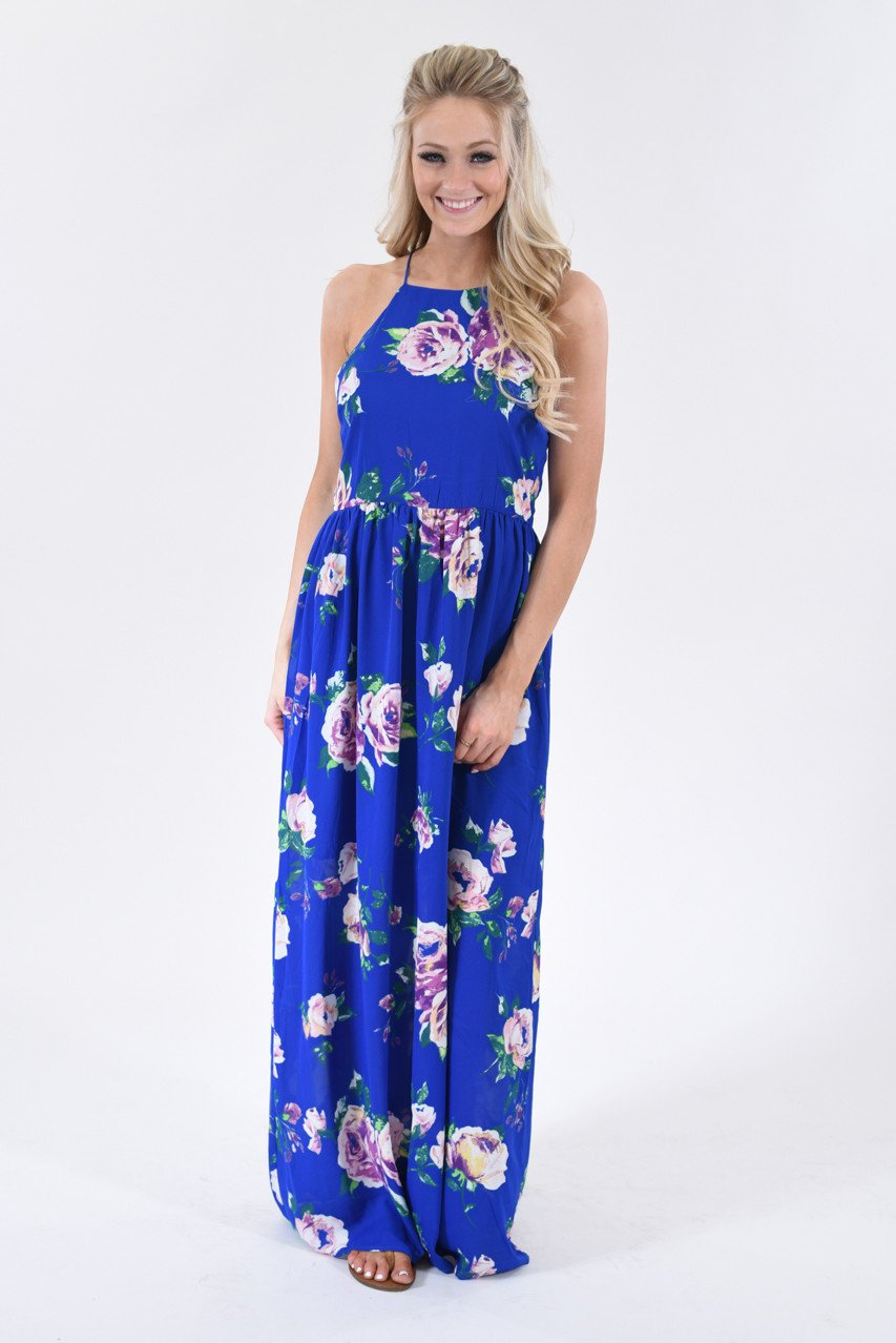 Electric Blue Floral Maxi Dress