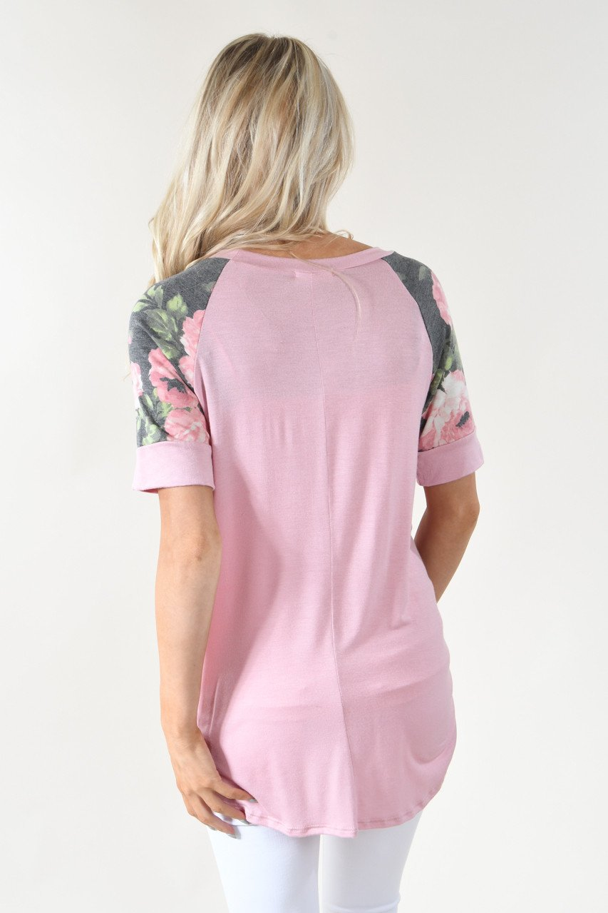 Sweet Pea Charcoal Floral Sleeve Top ~ Mauve