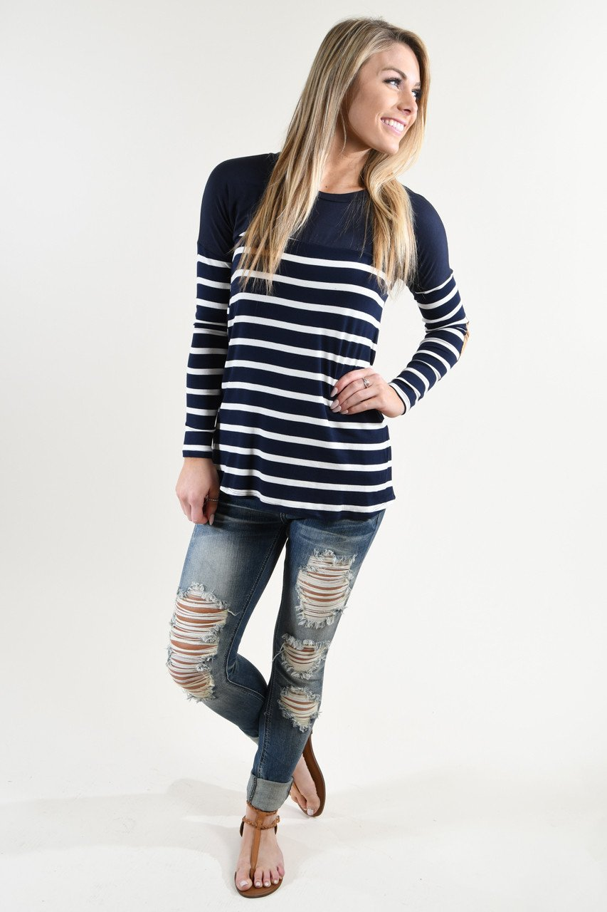 Long Sleeve Striped Navy Top