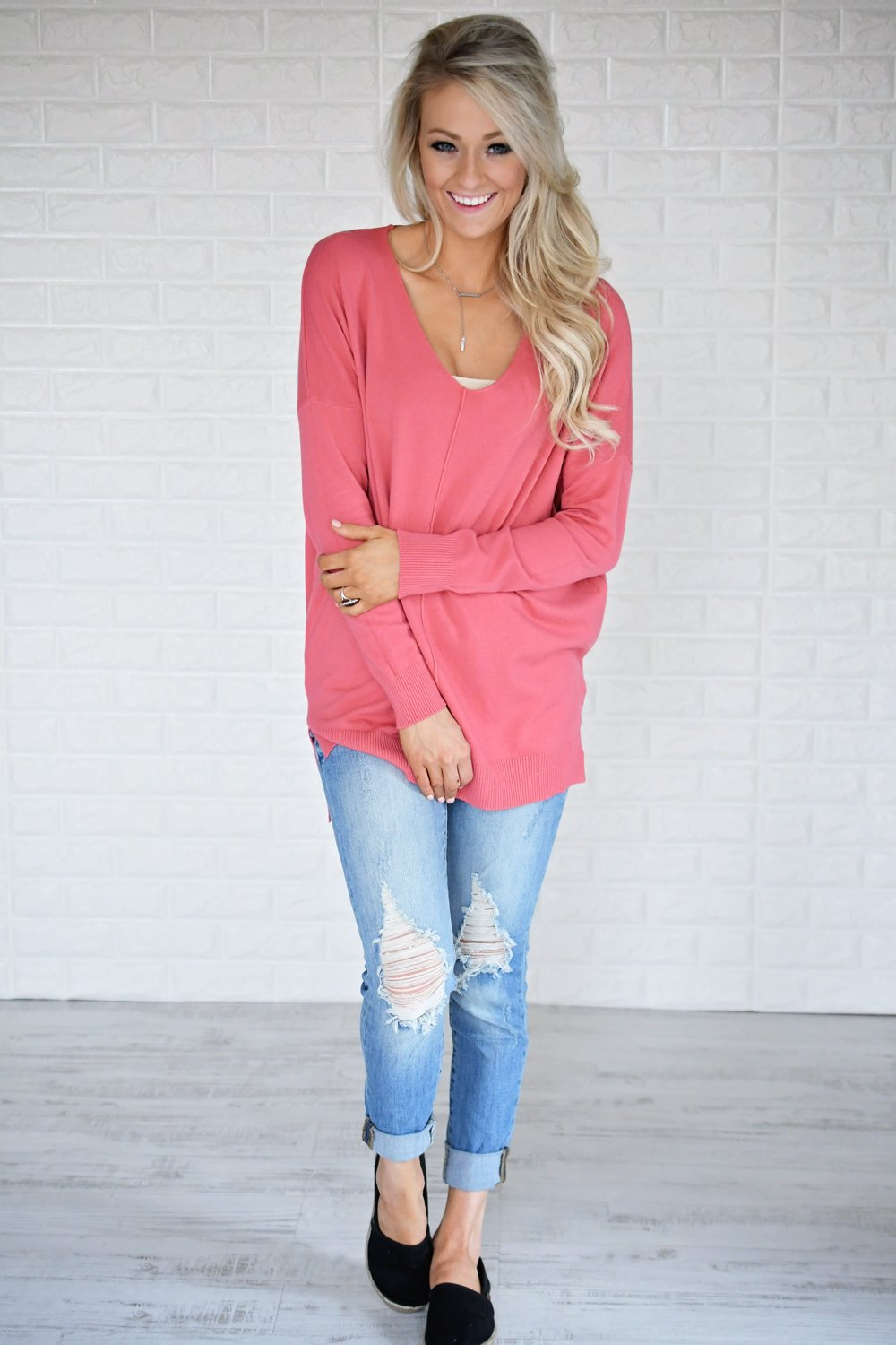 Hold On To Me Sweater ~ Deep Blush