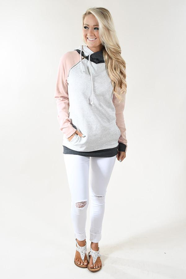 Ampersand Ave. Double Hooded Sweatshirt ~ Baseball Pink