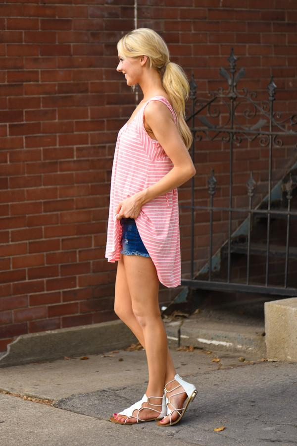 On the Run Tank Top - Pink Stripes
