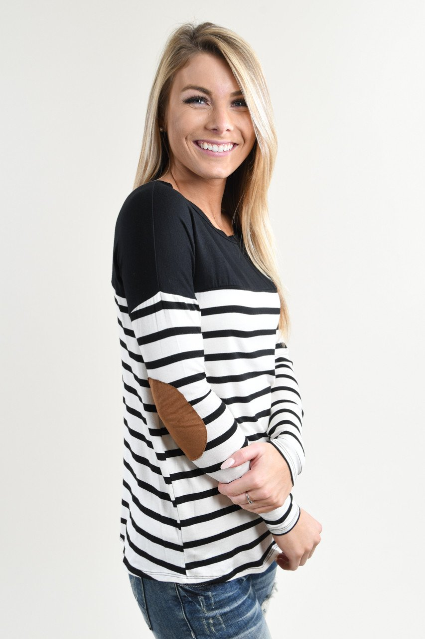 Long Sleeve Striped Black Top