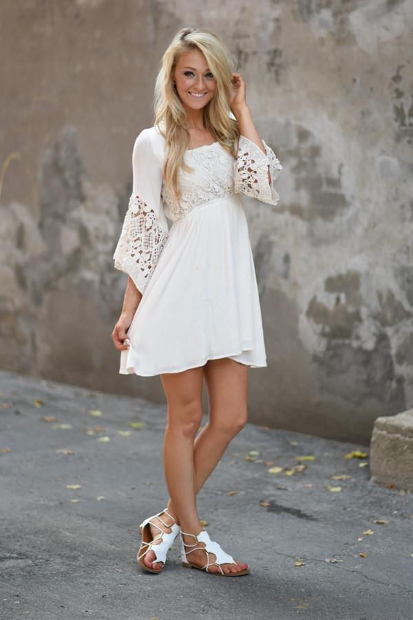 Down a Dirt Road Cream Dress