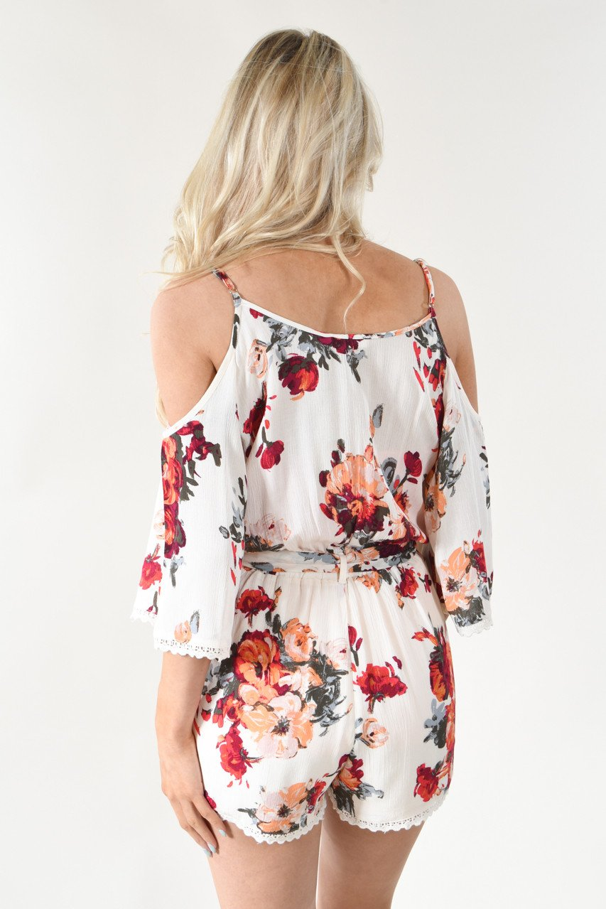 Open Shoulder Floral Romper