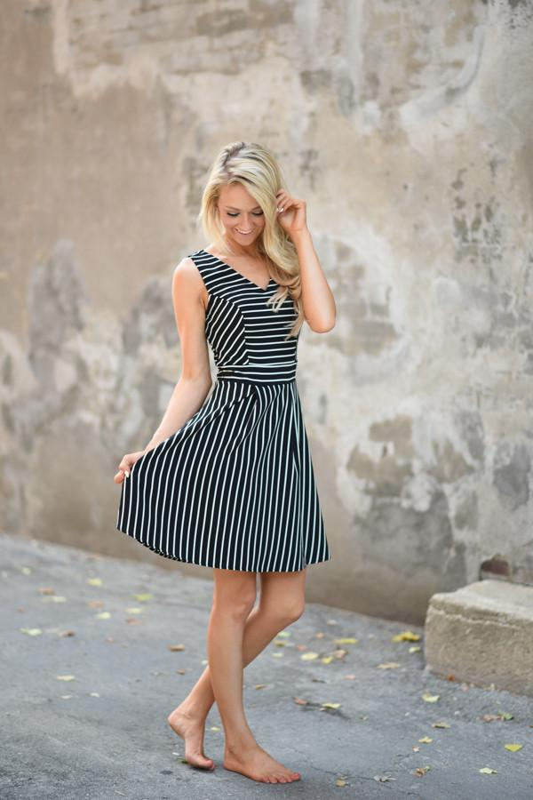 Climb the Ladder Black Stripe Dress