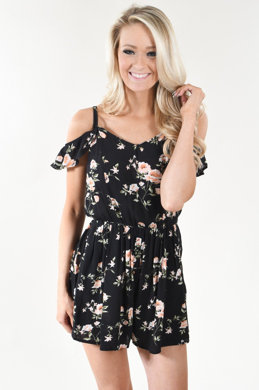 Black Floral Cold Shoulder Romper