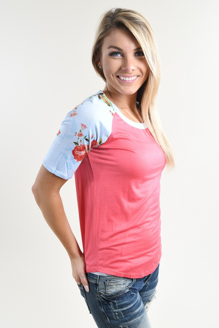 Watermelon Floral Sleeve Top