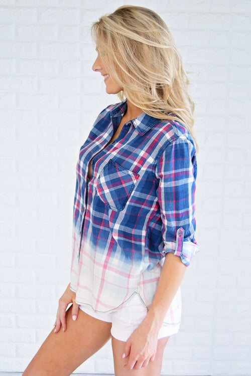 Navy & Red Ombre Plaid Top