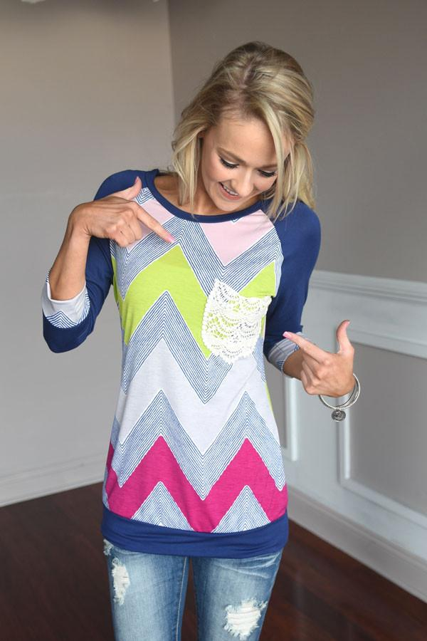 Neon Chevron Top