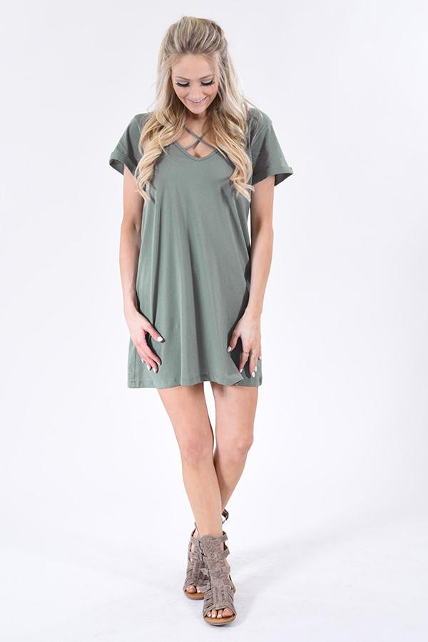 You're the One ~ Sage T-Shirt Dress