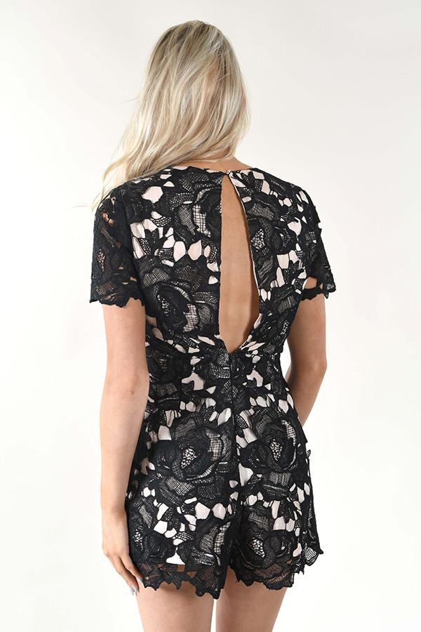 Lush - Black Lace Romper
