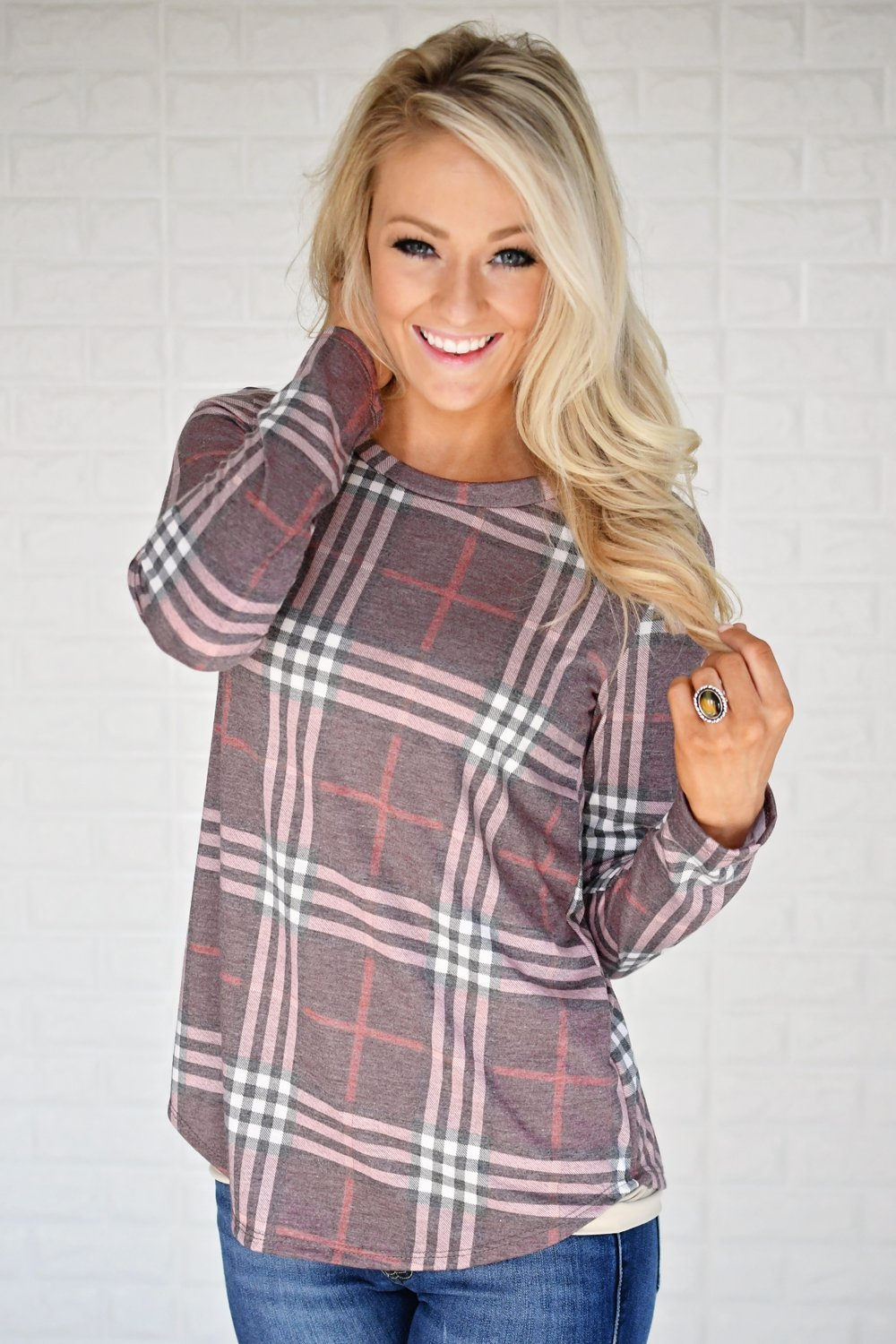 Perfectly Plaid Long Sleeve Top ~ Shades of Pink