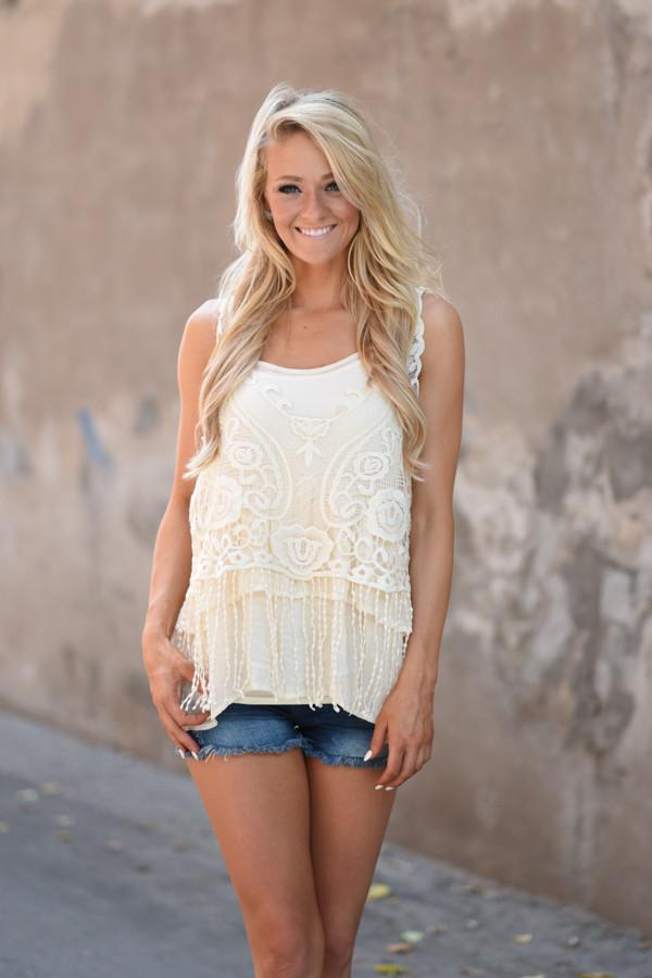 Tan Crochet Top