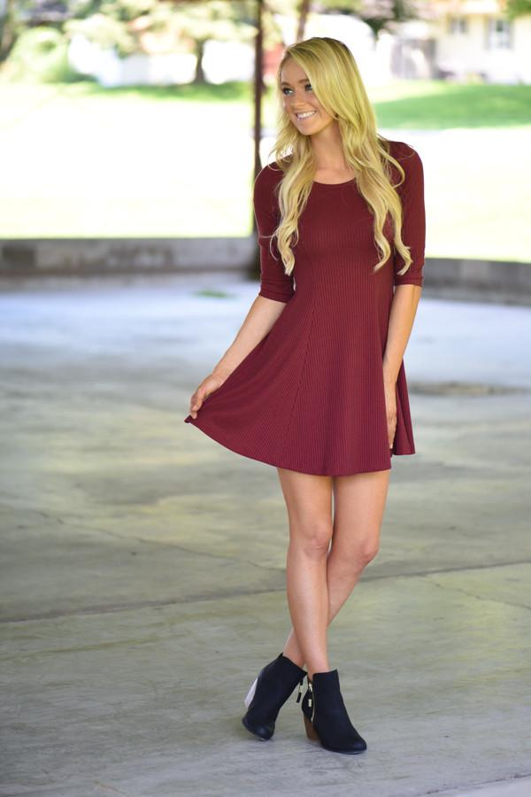 Knit Burgundy Mid Length Dress