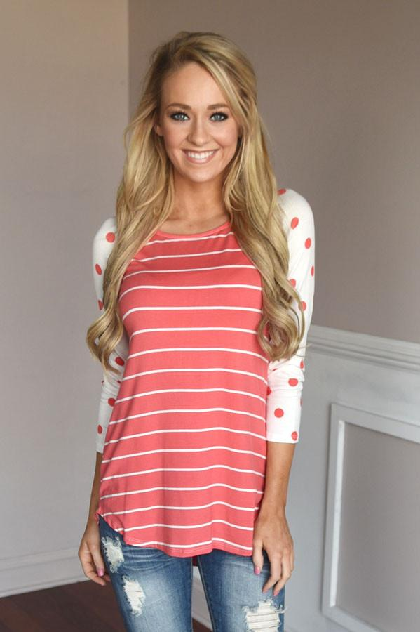 Coral Polka Dot & Stripes Top