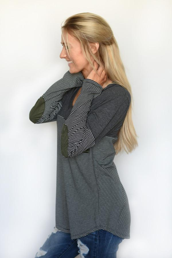 Olive & Black Pocket Top